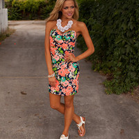 Flirtatious & Floral Tube Dress Navy