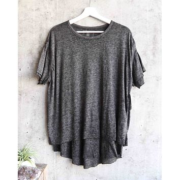 free people - we the free - cloud 9 frayed hem knit tee - carbon charcoal
