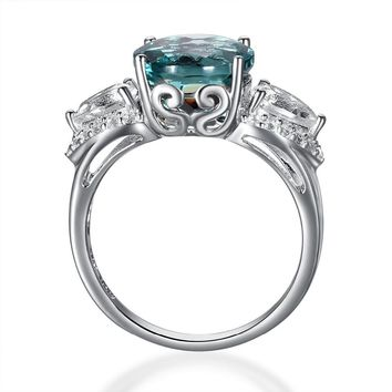 Hutang 2017 Women Natural Stone Blue Fluorite Topaz Ring, Fine Jewelry Women's Pure 925 Sterling Silver Gemstone Rings