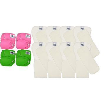 Softbums Baby Cloth Diapers - 4 Omni Shells and 8 SUPER DryTouch Pods Pack