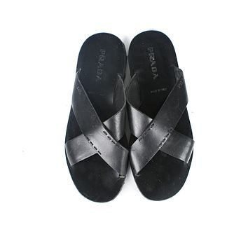 Prada Black Leather Men's Criss Cross Sandals US 12