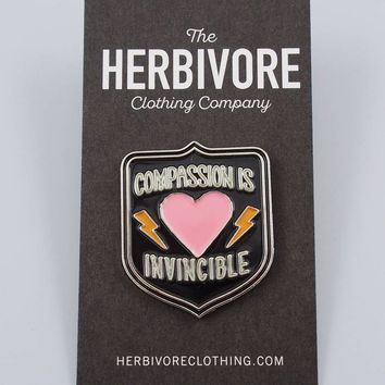 Compassion Is Invincible Enamel Pin - The Herbivore Clothing Co.