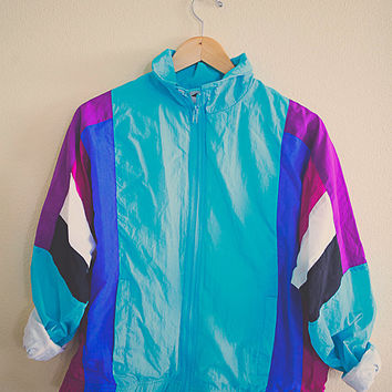 Windbreaker Turquoise Purple Blue Aqua Pink Jacket Coat Women's Medium Hipster Preppy 80s Oversized Slouchy