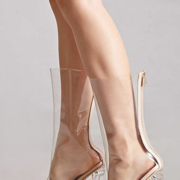Clear Pointed-Toe Lucite Boots