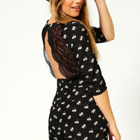 Ava Daisy Print Lace Back Playsuit