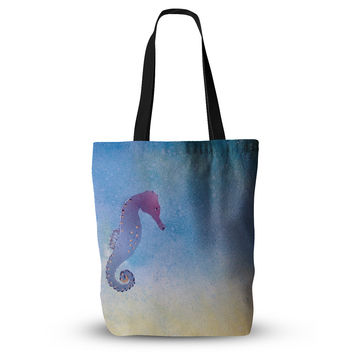 "Infinite Spray Art ""Seahorse"" Blue Painting Everything Tote Bag"
