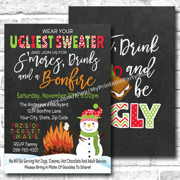 Tacky Ugly Sweater Christmas Party Invitation For An Outdoor Smores And Bonfire Holiday Party, Eat Drink And Be Ugly, PRINTABLE