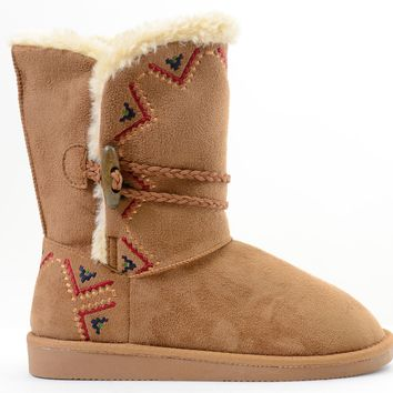 Tribal Zig-Zag Shearling Vegan Fur Suede Womens Boots
