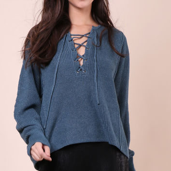 Decker Kera Lace Up Sweater