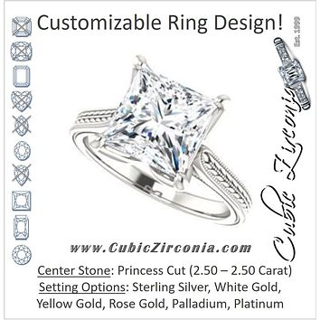 Cubic Zirconia Engagement Ring- The Dulcia (Customizable Princess Cut Solitaire with Wheat-inspired Band Filigree)