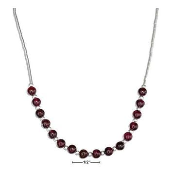 """STERLING SILVER 16"""" LIQUID SILVER AND GARNET BEAD NECKLACE"""