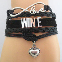 Infinity Love Wine Bracelet (BLACK) - Hand Made Leather Strap Wrap
