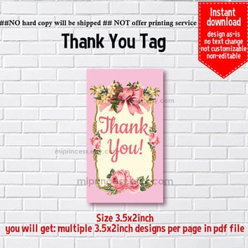 Instant Download, vintage frame, bow, floral thank you gift, alice party, Thank you TAG, 3.5x2inch printable , non-editable NOT CUSTOMIZABLE