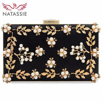 NATASSIE 2018 Women Evening Bags Fashion Beaded Clutch Bag Female Wedding Clutches Purses High Quality