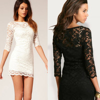 Women's Black White Lace Sexy V Neck Slim 3/4 Sleeve Cocktail Party Dresses