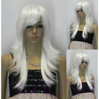 Medium long silver white straight layered ramp bangs synthetic hair full wig