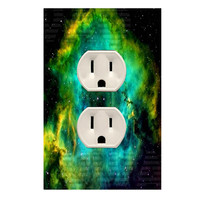 Wall Plug Cover Decal Outlet Outer Space Stars Decor OU16