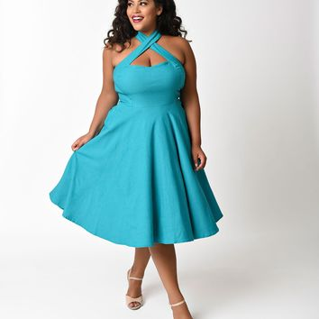 Unique Vintage Plus Size 1950s Style Teal Criss Cross Halter Flare Rita Dress