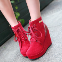Women Ankle Boots Lace Up Round Toe High Heels Platform Shoes Woman 7576