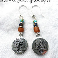 Glass beads and Tree of life sterling silver charms earrings.