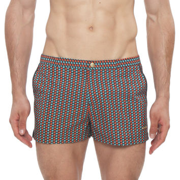 "2"" Clipper Print Retro Swim Trunk"