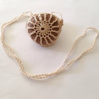 Hand Crocheted Boho Round Stone Necklace Made to Order