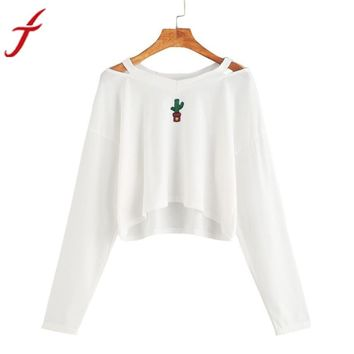 Crop top Blouse Women Long Sleeve Off Shoulder Embroidery Sweatshirt Causal Autumn V-Neck Tops