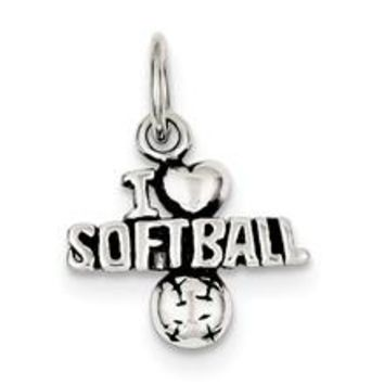Antique I (heart) Softball Charm in Sterling Silver