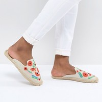 Soludos Beige Ibiza Embroidered Mules at asos.com