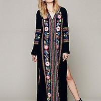 Candela  Cocoa Embroidered Kaftan at Free People Clothing Boutique