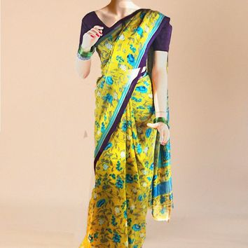 the lemon souffle' goergette saree with detailed printed artwork