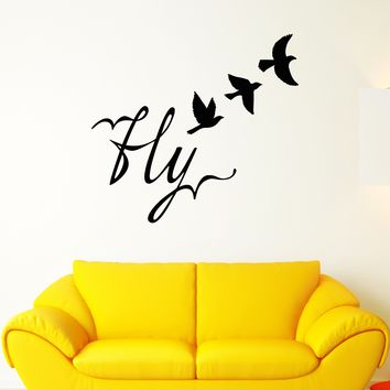 Vinyl Wall Decal Fly Word Bird Freedom Room Decoration Stickers Unique Gift (1627ig)