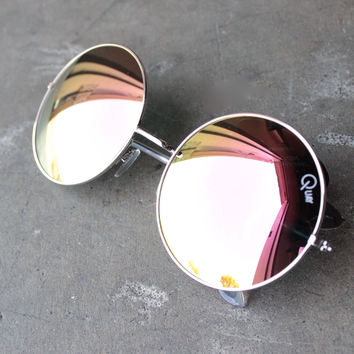 quay - dynasty oversize round sunglasses - silver/pink mirror lens