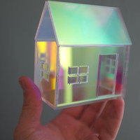 Iridescent rainbow structure in pastels and neons - opalescent architecture - miniature house