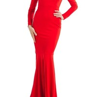 Honey Couture LEYLA Red Off Shoulder Long Sleeve Maxi Dress
