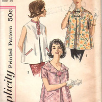Retro Simplicity 1960s Sewing Pattern Maternity Blouse Inverted Front Pleat Mandarin Collar Sleeveless Uncut Bust 36