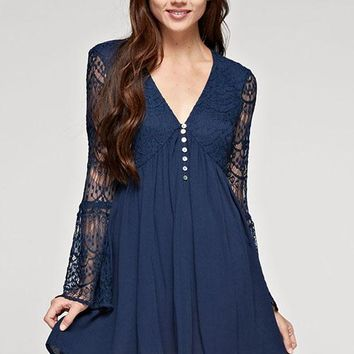 Long Bell Sleeve V-Neck Lace Mix Media Gauze Dress