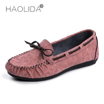HAOLIDA Shoes Woman Fashion 100% Genuine Leather Women Flats Casual Shoes Loafers Women Flat Shoes Moccasins Slip Driving Shoes