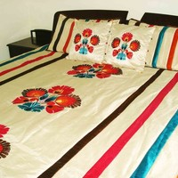 "Colourful floral applique embroidered quilt/bedspread in the size 100""x108"""