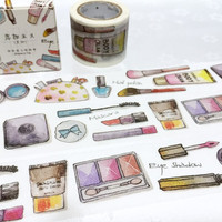girl theme washi tape 7M x 3cm cosmopolitan lady shopping makeup planner sticker tape lipstick eyeshadow cosmetic theme decor wide tape gift