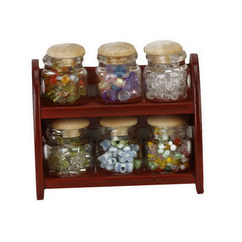 Glass Spice Pot Bottle Jars Rack 1 12 Dollhouse Miniature Doll House Kitchen Accessory