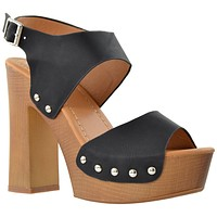 Womens Platform Sandals Slingback Open Toe Studded Wood Chunky High Heel Shoes Black