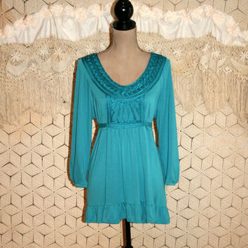 Teal Blue Top Aqua Blue Top Babydoll Top Boho Top Long Peasant Top Highwaist Ruffle Bottom Boho Clothing Large XL Plus Size Womens Clothing
