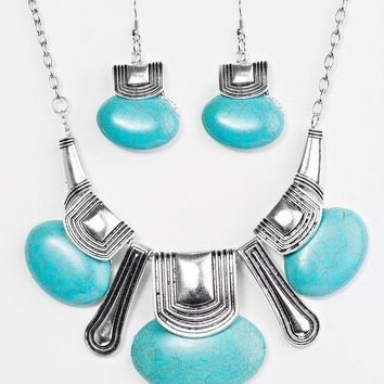 """Zi Collection """"The Rhonda""""  Blue Turquoise Stone Silver Tone Necklace & Earring Set"""