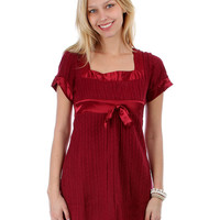 WINE KNIT BABYDOLL DRESS WITH SATIN TRIMMING