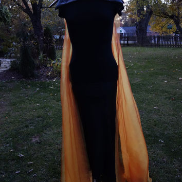 Katniss inspired fire cape Girl on Fire long sheer orange and red cape with black faux leather collar Futuristic Cosplay Gothic Dystopia