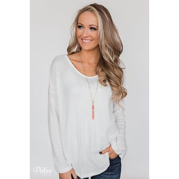 Twist of Love Back Detail Thermal Top- White