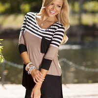 Pocket and Stripes Tunic Mocha