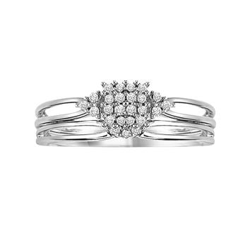Cherish Always Round-Cut Diamond Engagement Ring Set in 10k White Gold (1/8 ct. T.W.)