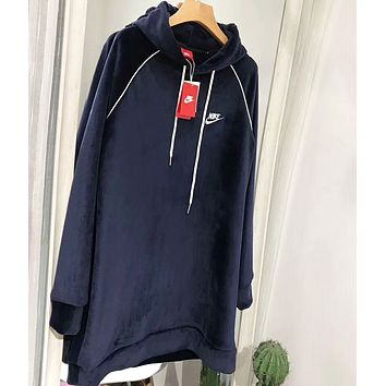NIKE Autumn And Winter Fashion New Bust Embroidery Letter Velvet Hooded Long Sleeve Sweater Top Navy Blue